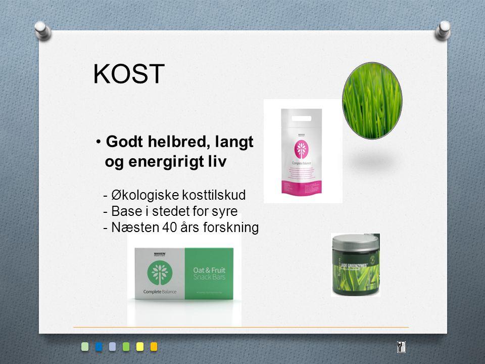 KOST Godt helbred, langt og energirigt liv - Økologiske kosttilskud