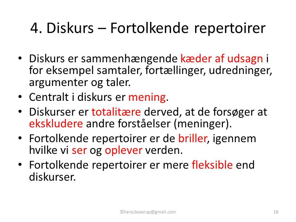 4. Diskurs – Fortolkende repertoirer