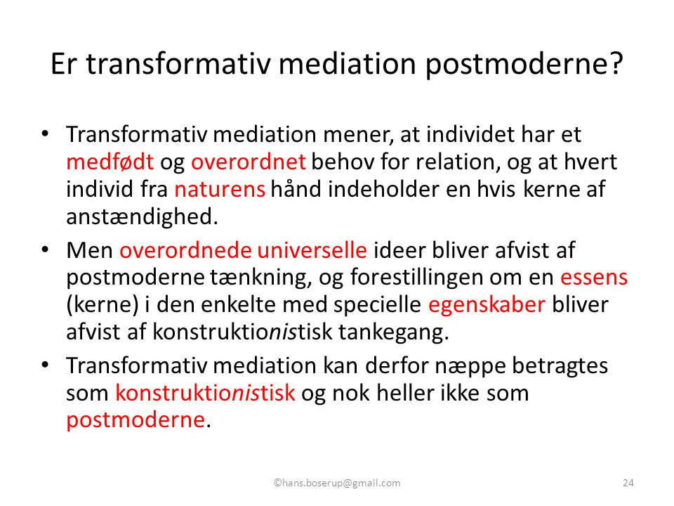 Er transformativ mediation postmoderne