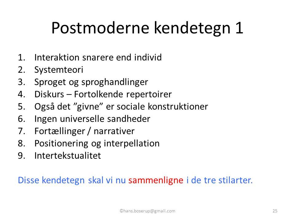 Postmoderne kendetegn 1