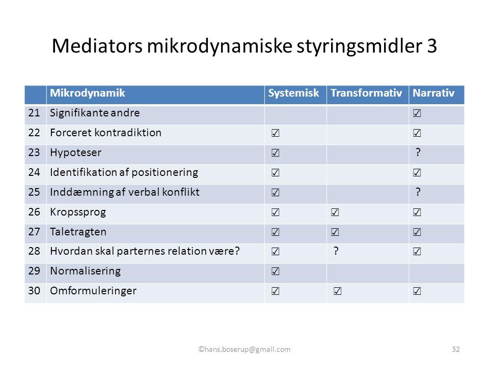 Mediators mikrodynamiske styringsmidler 3