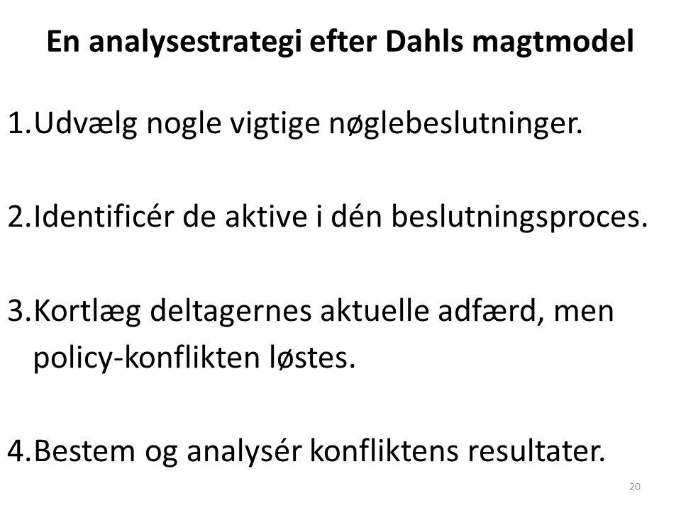 En analysestrategi efter Dahls magtmodel