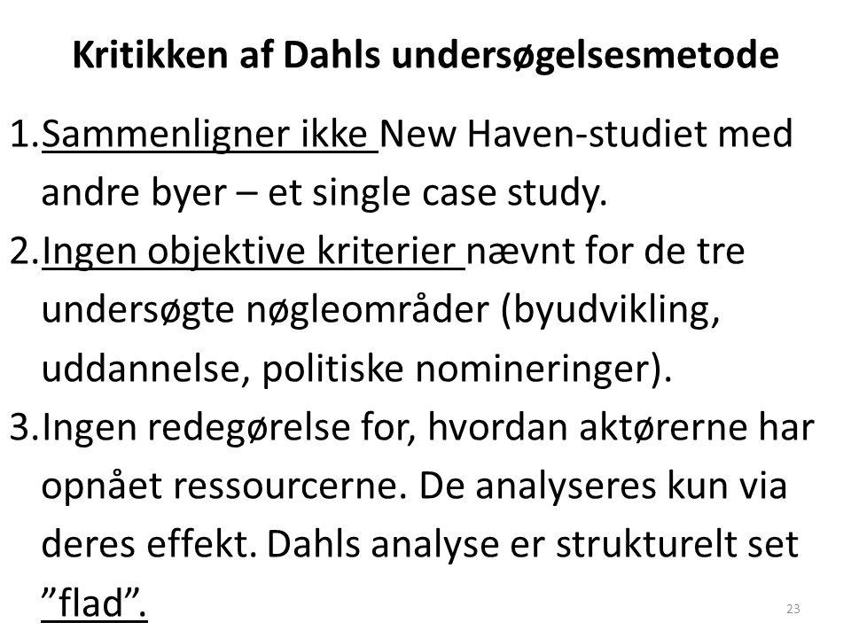 Kritikken af Dahls undersøgelsesmetode