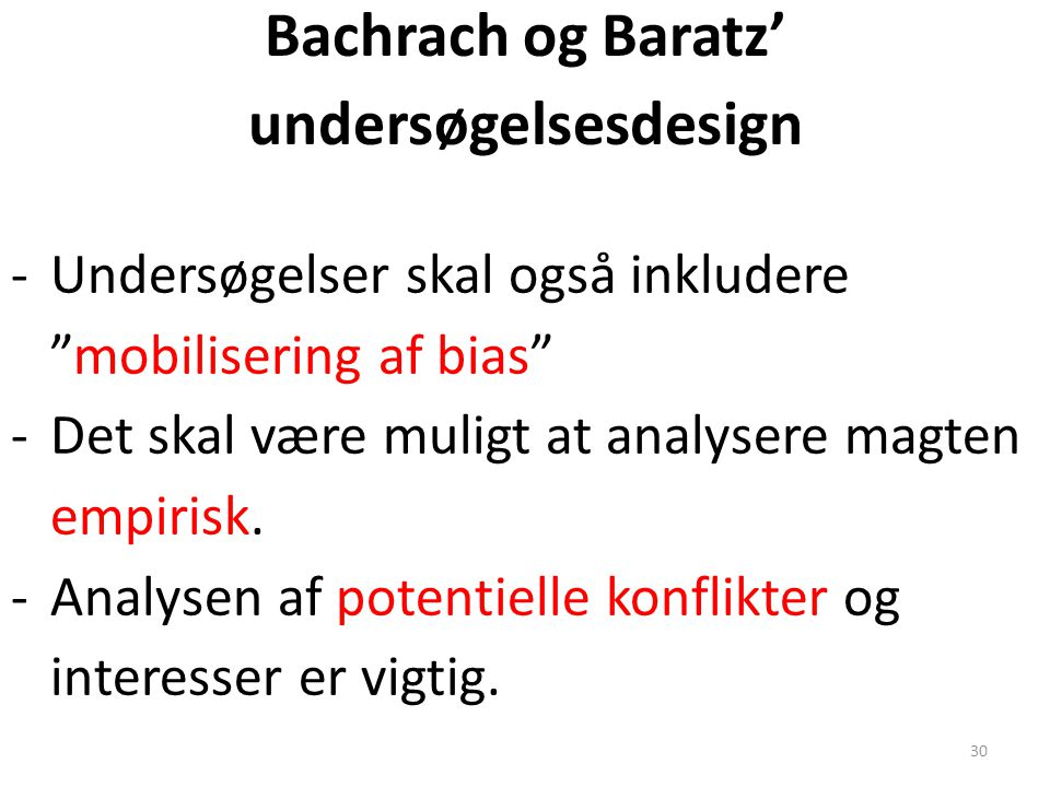 Bachrach og Baratz' undersøgelsesdesign