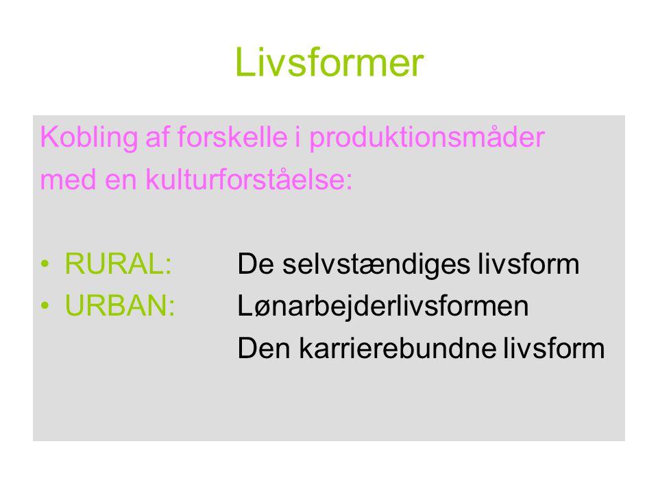 Livsformer Kobling af forskelle i produktionsmåder