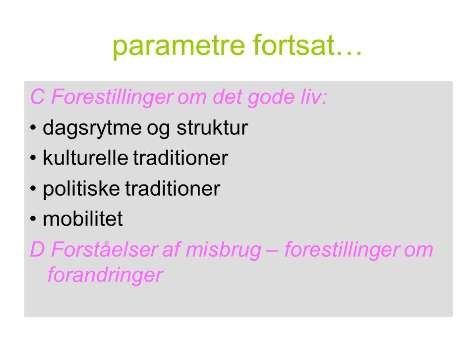 parametre fortsat… C Forestillinger om det gode liv: