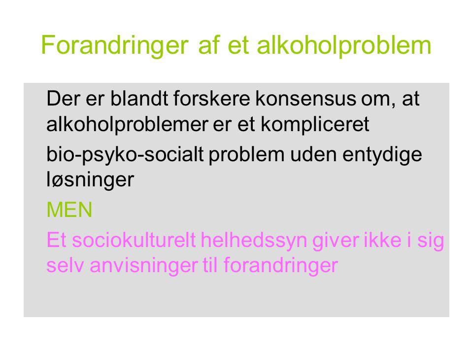 Forandringer af et alkoholproblem