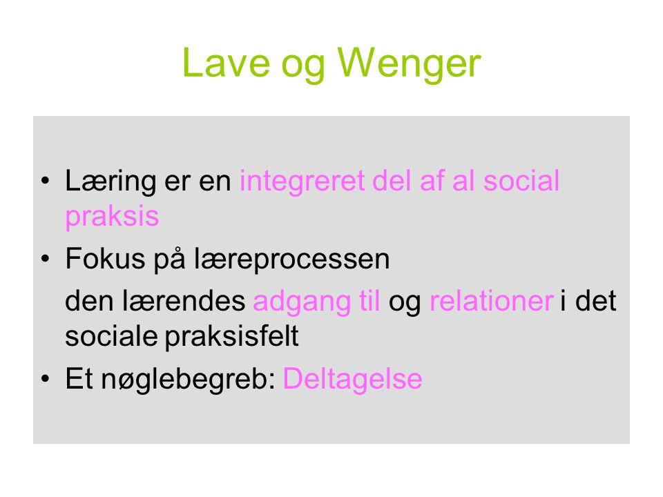 Lave og Wenger Læring er en integreret del af al social praksis
