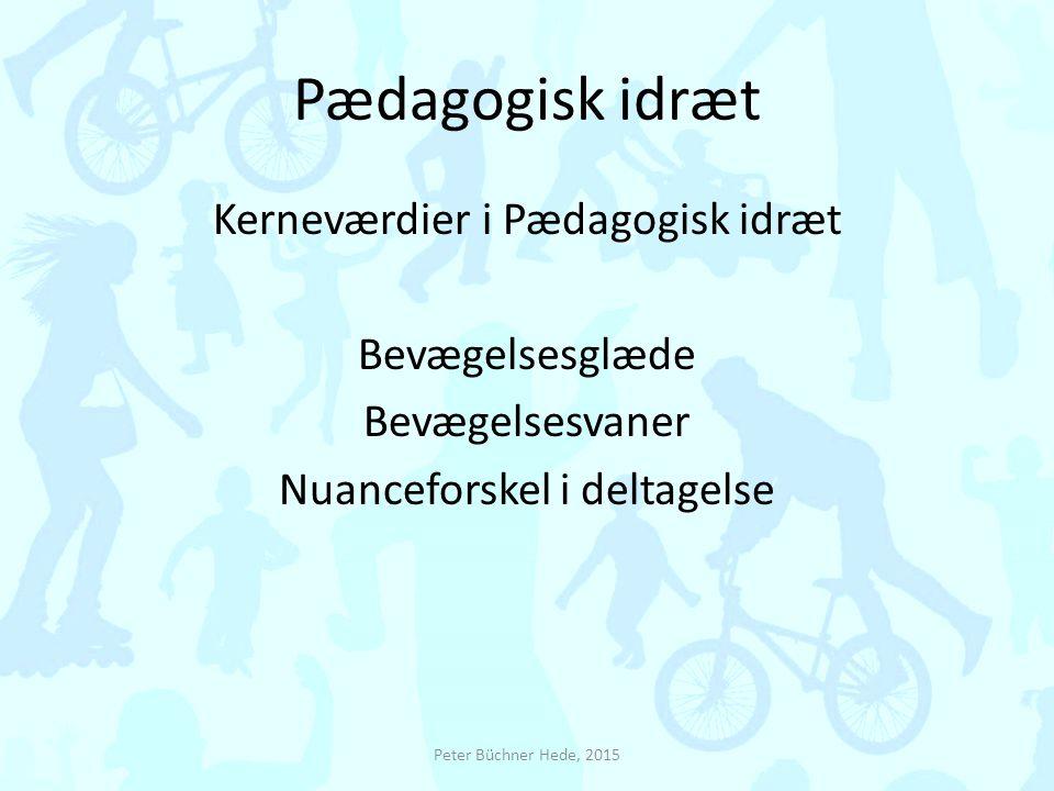 Pædagogisk idræt Kerneværdier i Pædagogisk idræt Bevægelsesglæde Bevægelsesvaner Nuanceforskel i deltagelse