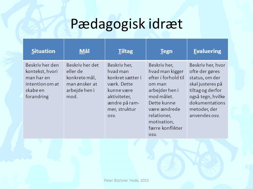 Pædagogisk idræt Situation Mål Tiltag Tegn Evaluering