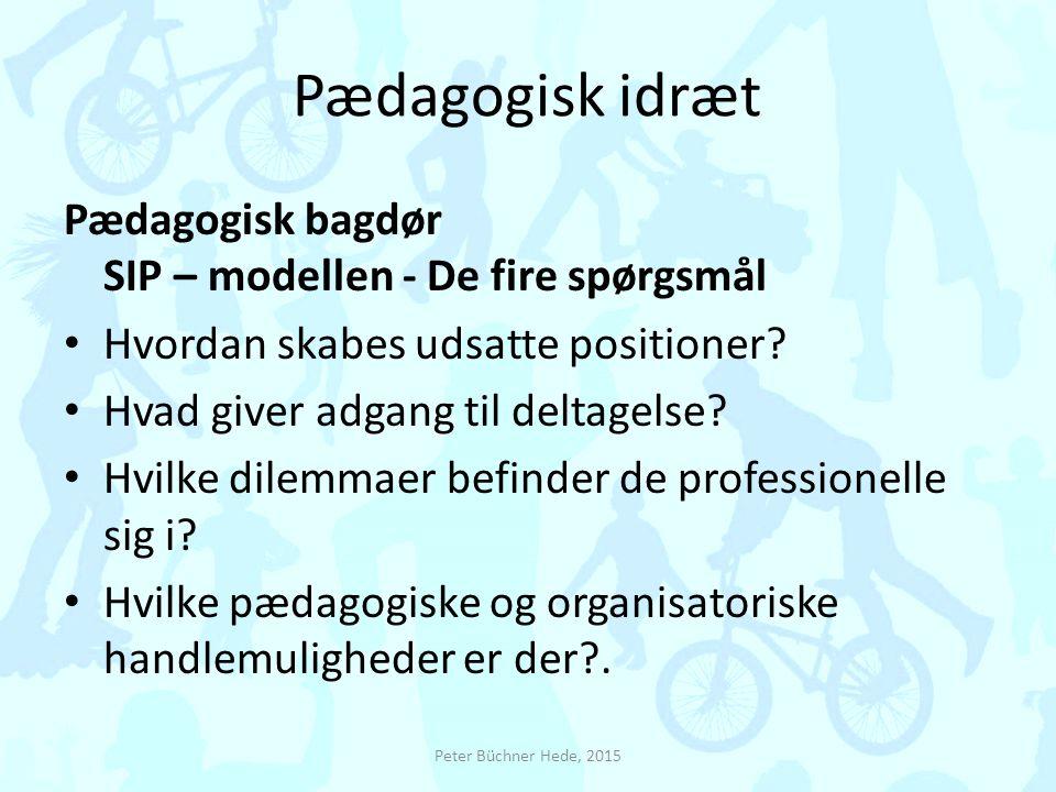 Pædagogisk idræt Pædagogisk bagdør SIP – modellen - De fire spørgsmål