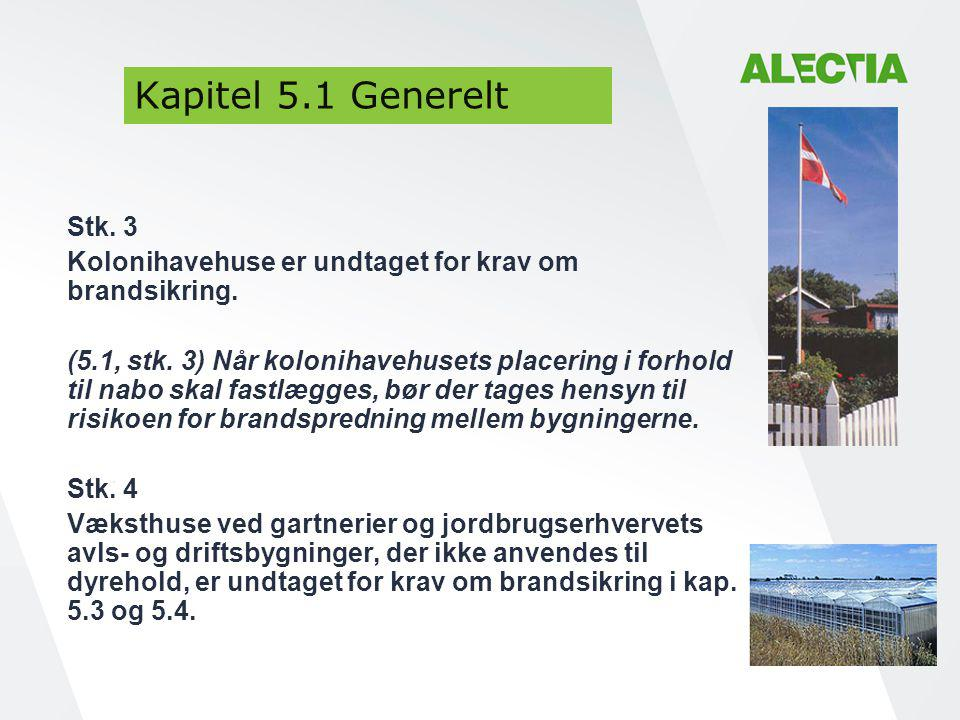 Kapitel 5.1 Generelt Stk. 3. Kolonihavehuse er undtaget for krav om brandsikring.