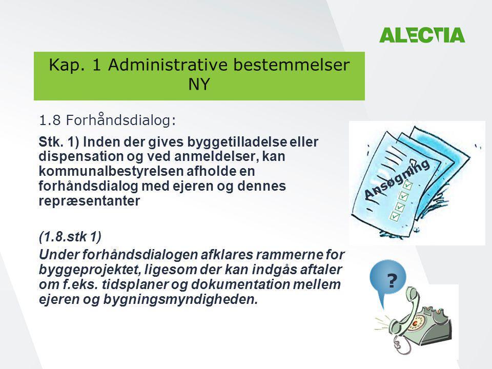 Kap. 1 Administrative bestemmelser NY