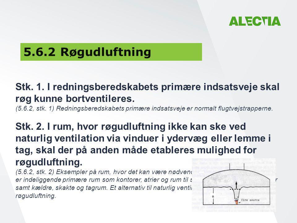 5.6.2 Røgudluftning Stk. 1. I redningsberedskabets primære indsatsveje skal. røg kunne bortventileres.