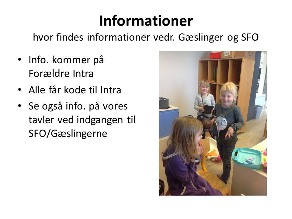 Informationer hvor findes informationer vedr. Gæslinger og SFO