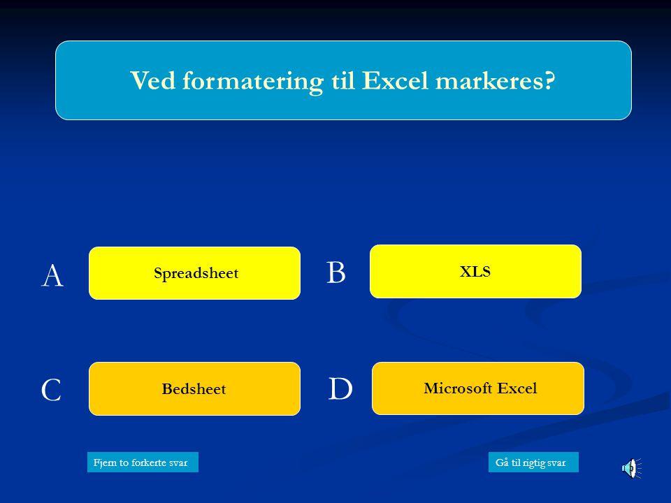 Ved formatering til Excel markeres