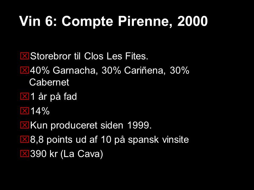 Vin 6: Compte Pirenne, 2000 Storebror til Clos Les Fites.