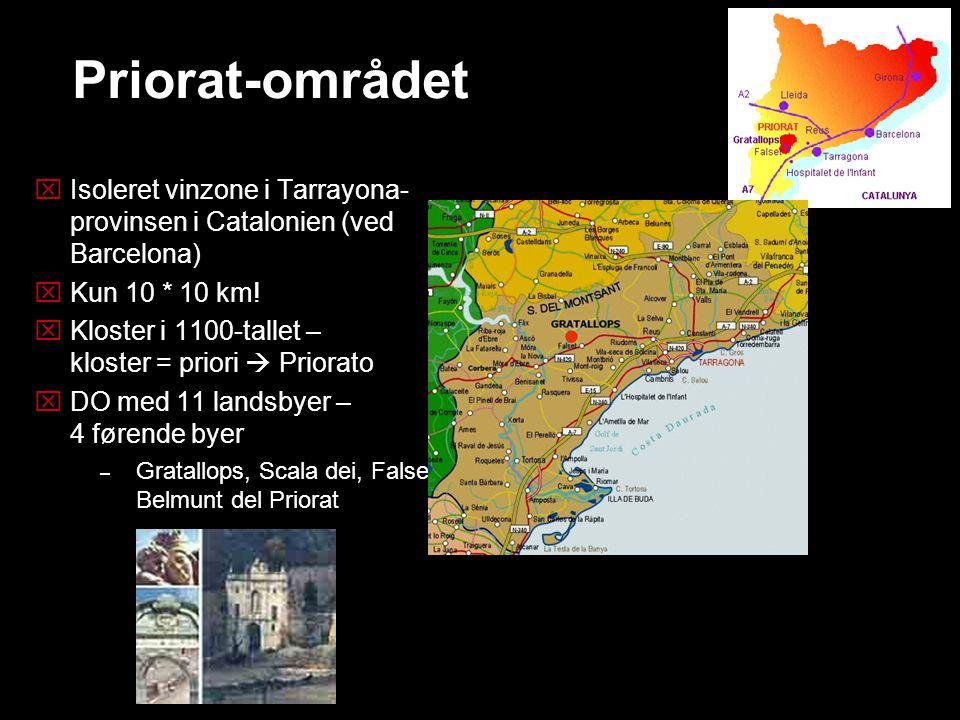 Priorat-området Isoleret vinzone i Tarrayona- provinsen i Catalonien (ved Barcelona) Kun 10 * 10 km!