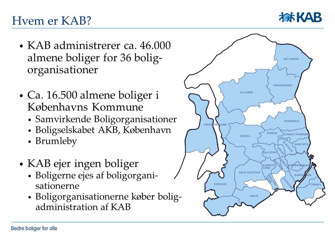Hvem er KAB KAB administrerer ca. 46.000 almene boliger for 36 bolig-organisationer. Ca. 16.500 almene boliger i Københavns Kommune.