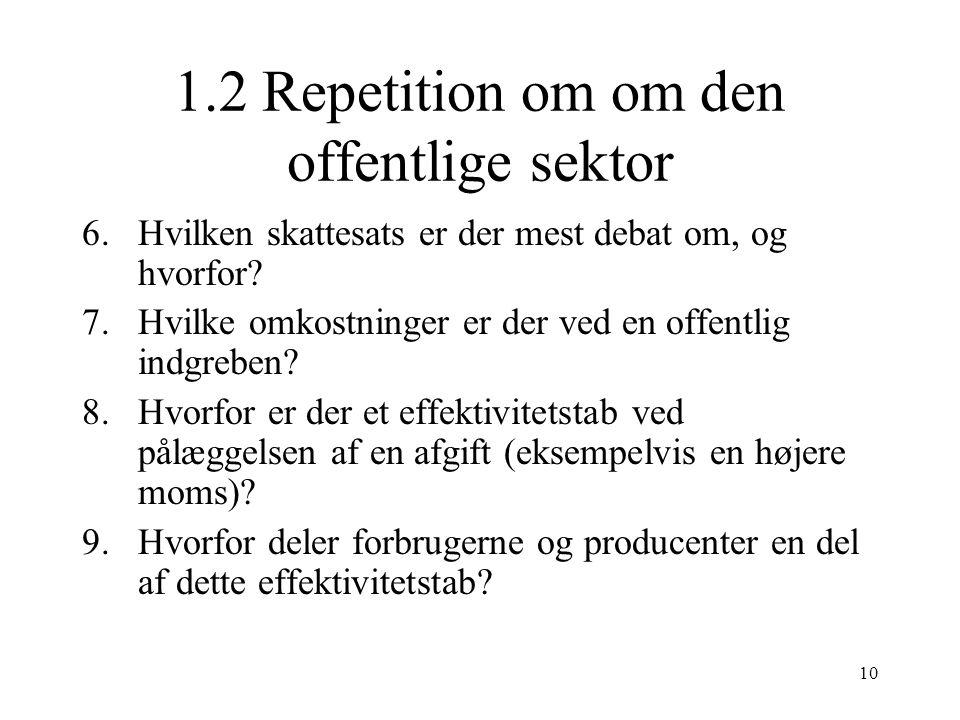 1.2 Repetition om om den offentlige sektor