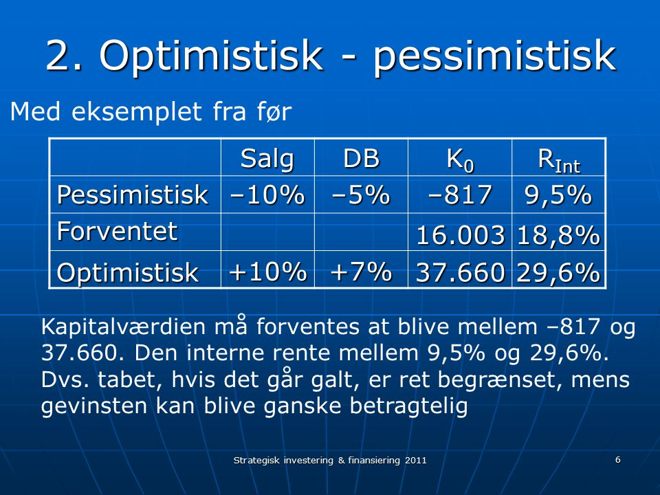 2. Optimistisk - pessimistisk
