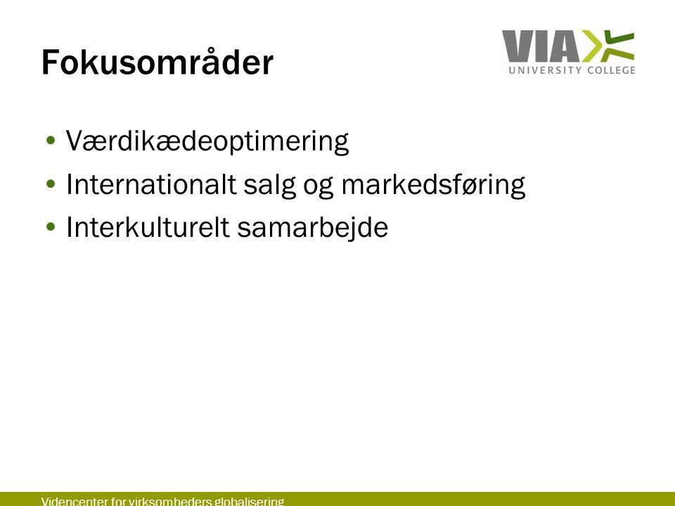 Fokusområder Værdikædeoptimering Internationalt salg og markedsføring