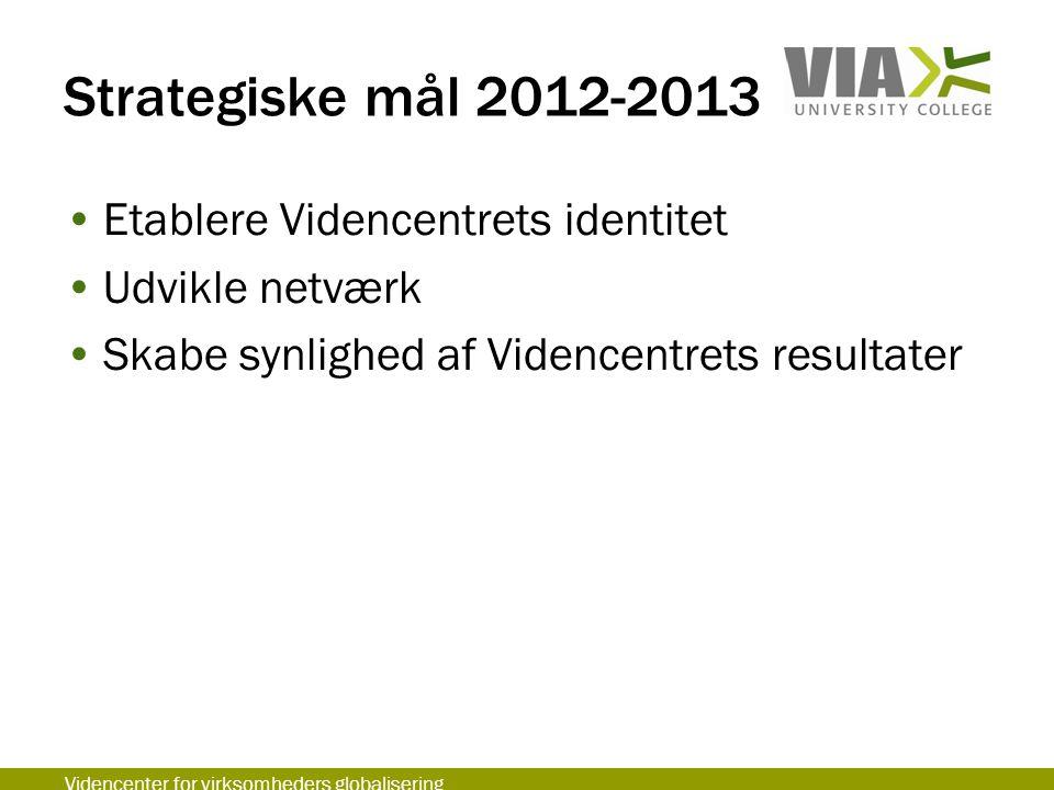 Strategiske mål 2012-2013 Etablere Videncentrets identitet