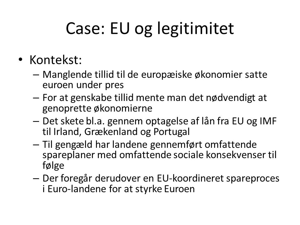 Case: EU og legitimitet