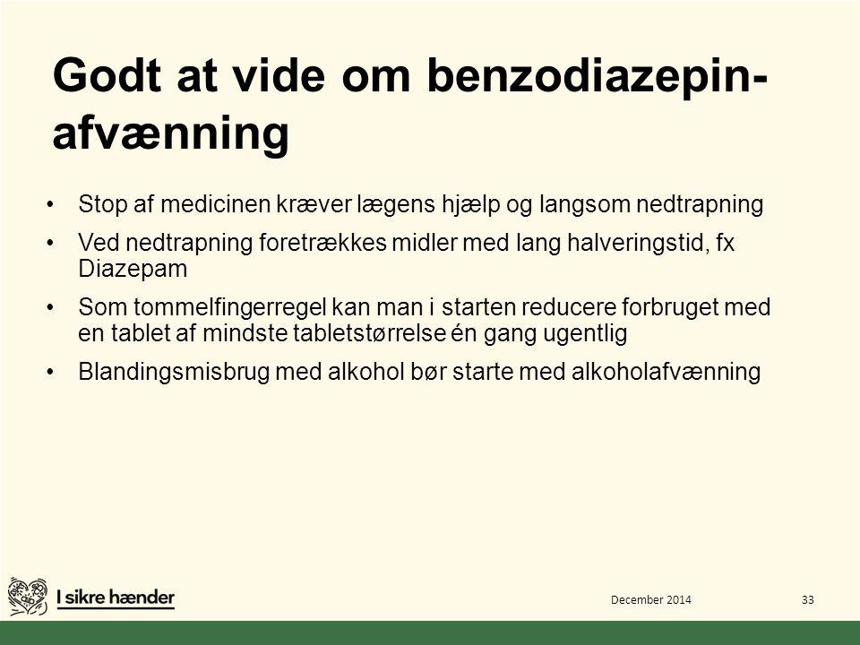 Godt at vide om benzodiazepin-afvænning