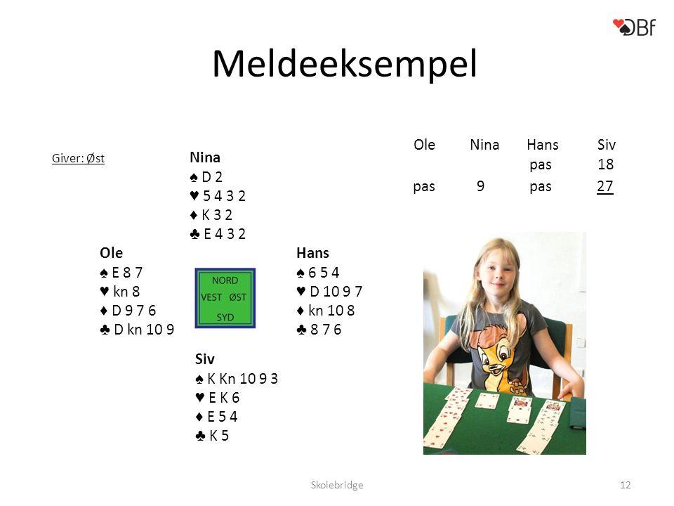 Meldeeksempel Ole Nina Hans Siv Nina ♠ D 2 ♥ 5 4 3 2 ♦ K 3 2 ♣ E 4 3 2