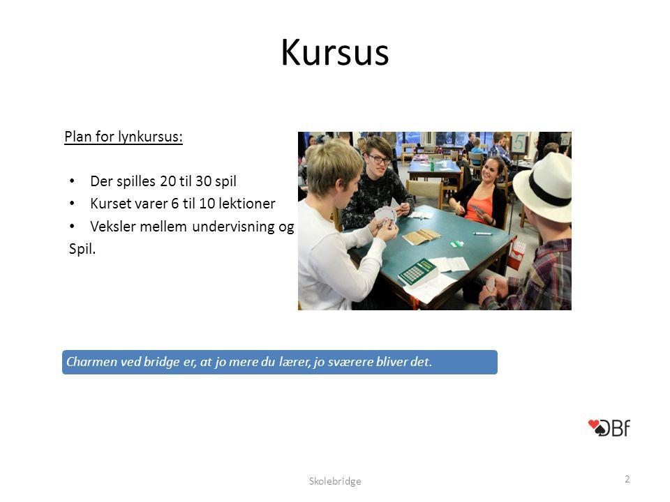Kursus Plan for lynkursus: Der spilles 20 til 30 spil