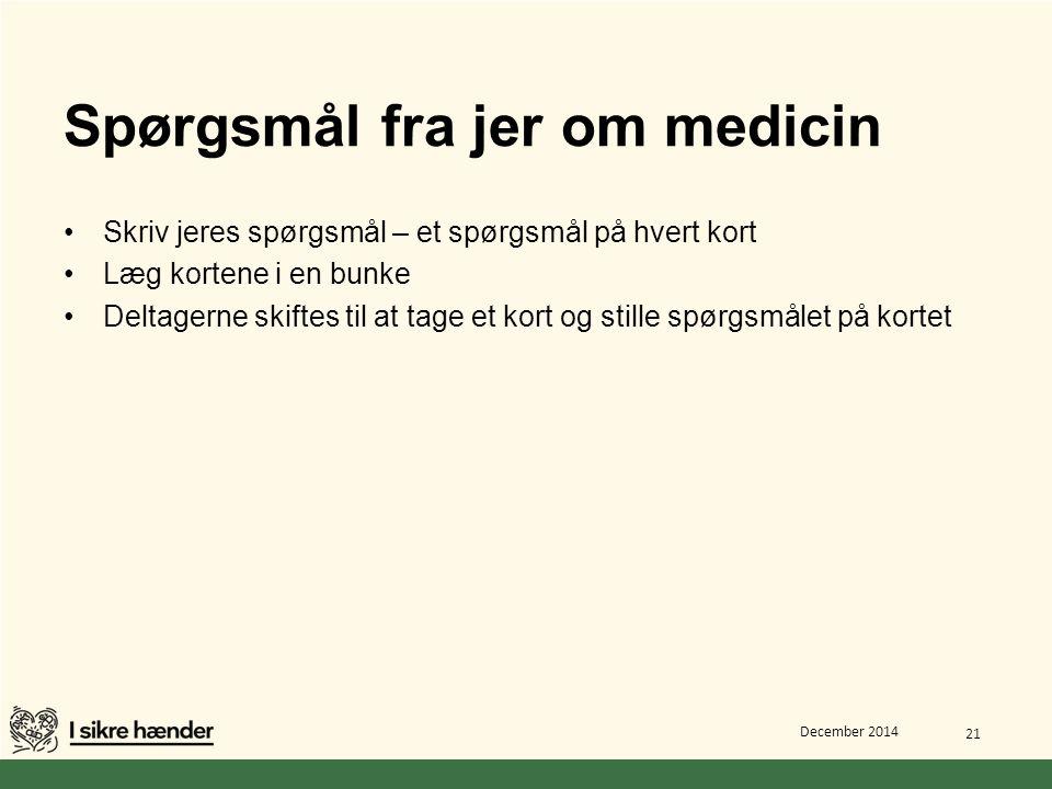 Spørgsmål fra jer om medicin