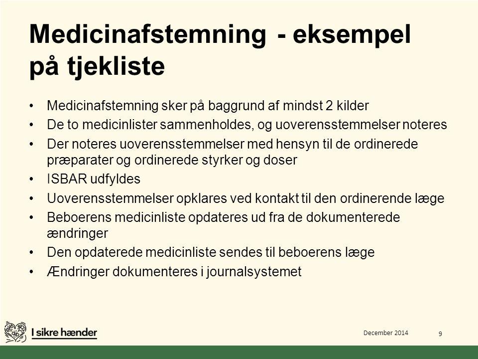 Medicinafstemning - eksempel på tjekliste