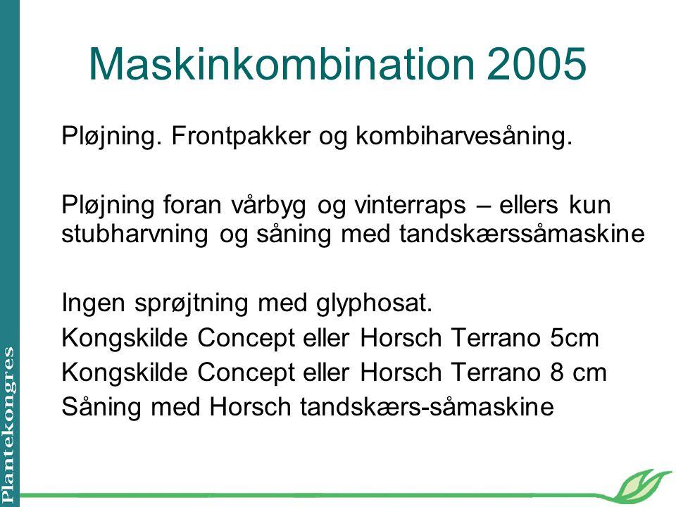 Maskinkombination 2005 Pløjning. Frontpakker og kombiharvesåning.