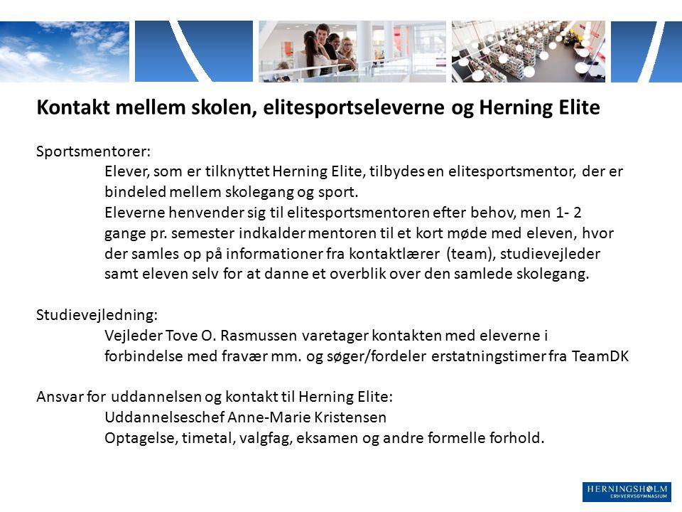 Kontakt mellem skolen, elitesportseleverne og Herning Elite
