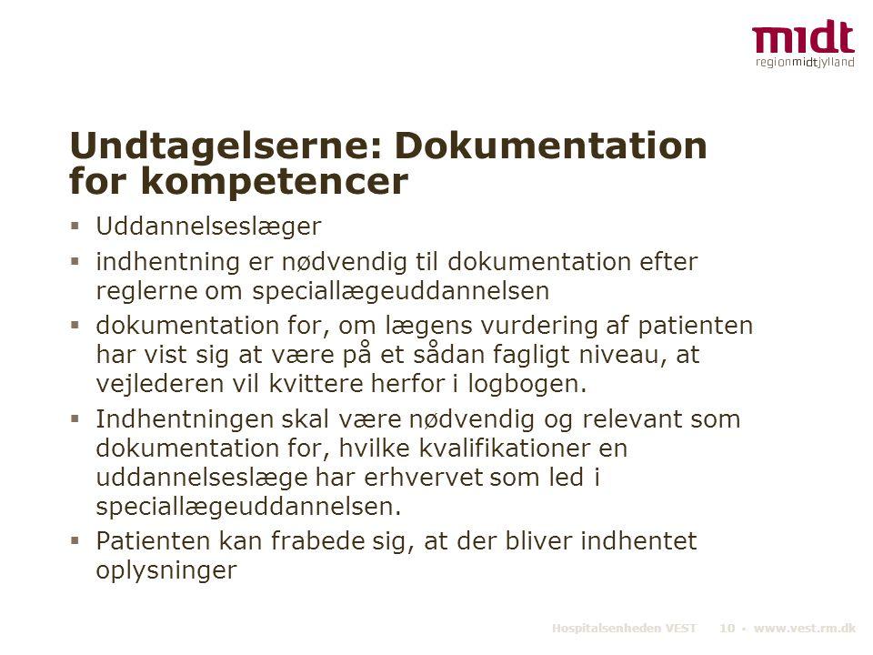Undtagelserne: Dokumentation for kompetencer