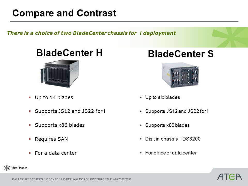 Compare and Contrast BladeCenter H BladeCenter S