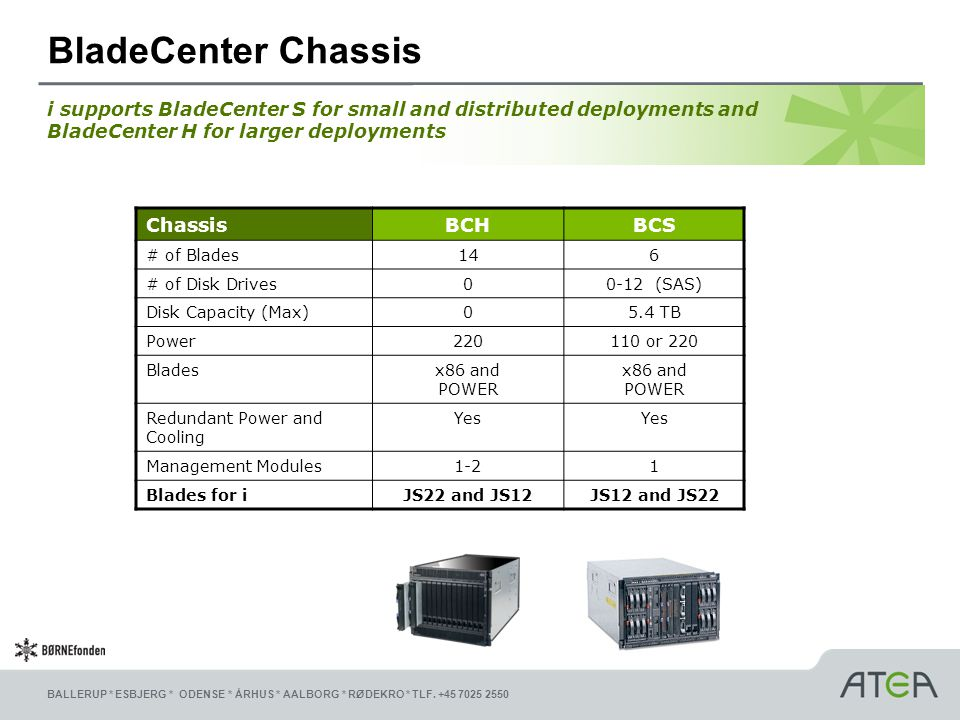 BladeCenter Chassis i supports BladeCenter S for small and distributed deployments and BladeCenter H for larger deployments.