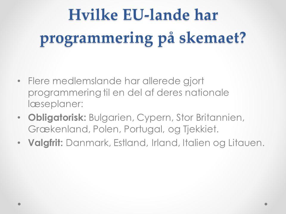 Hvilke EU-lande har programmering på skemaet