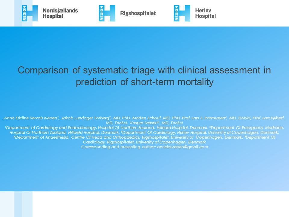 Comparison of systematic triage with clinical assessment in prediction of short-term mortality