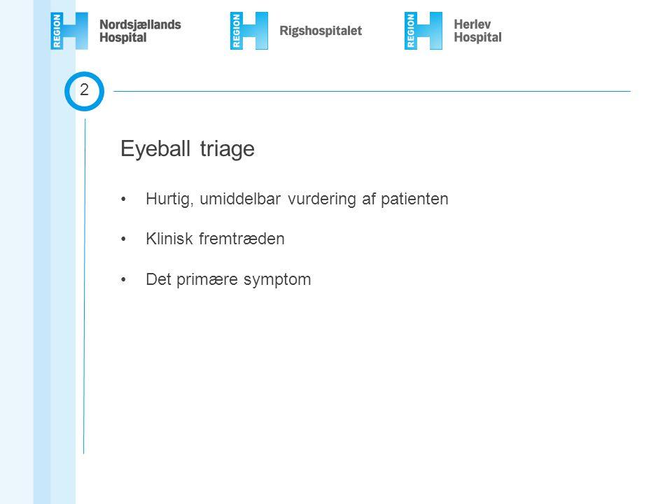 Eyeball triage 2 Hurtig, umiddelbar vurdering af patienten