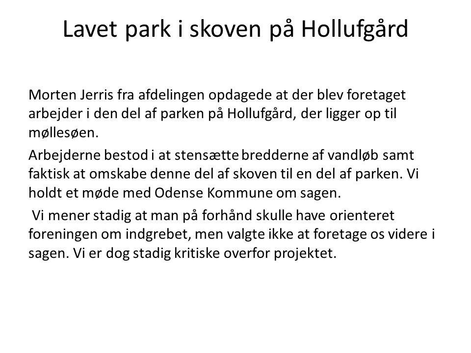 Lavet park i skoven på Hollufgård