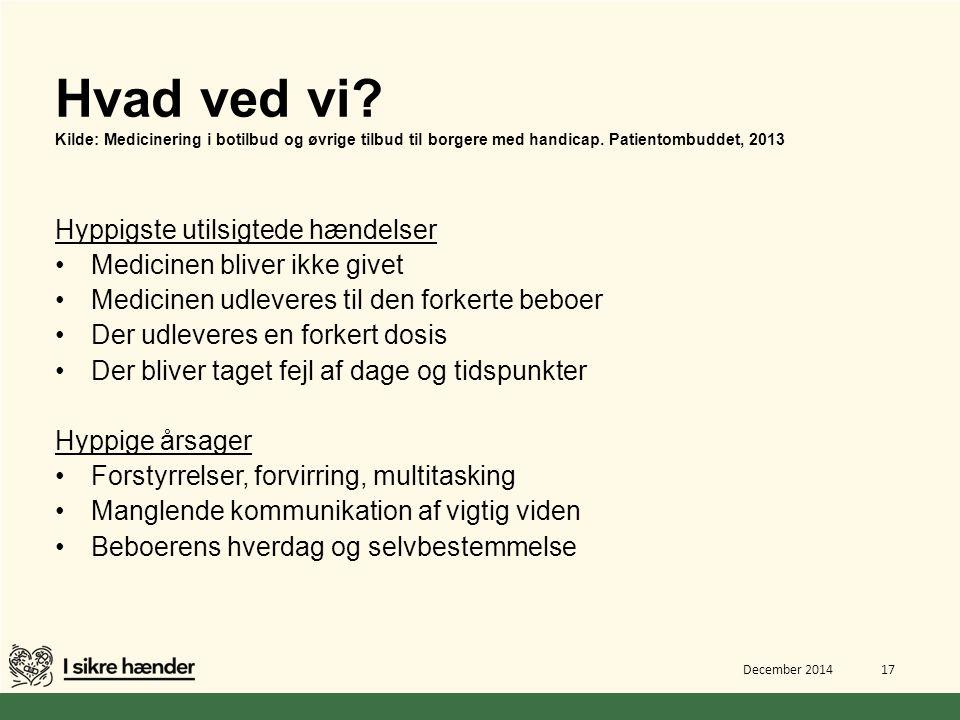 Hvad ved vi Kilde: Medicinering i botilbud og øvrige tilbud til borgere med handicap. Patientombuddet, 2013