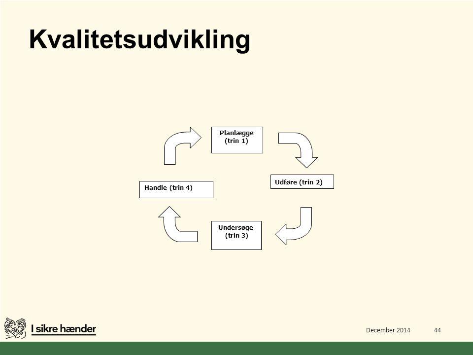 Kvalitetsudvikling Planlægge (trin 1) Udføre (trin 2) Handle (trin 4)