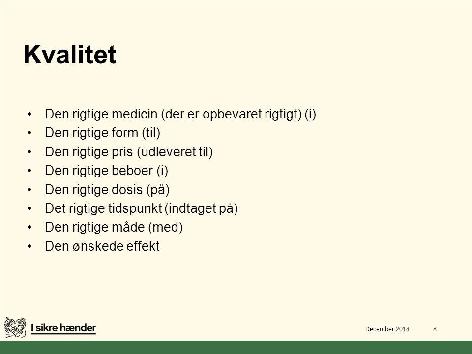 Kvalitet Den rigtige medicin (der er opbevaret rigtigt) (i)