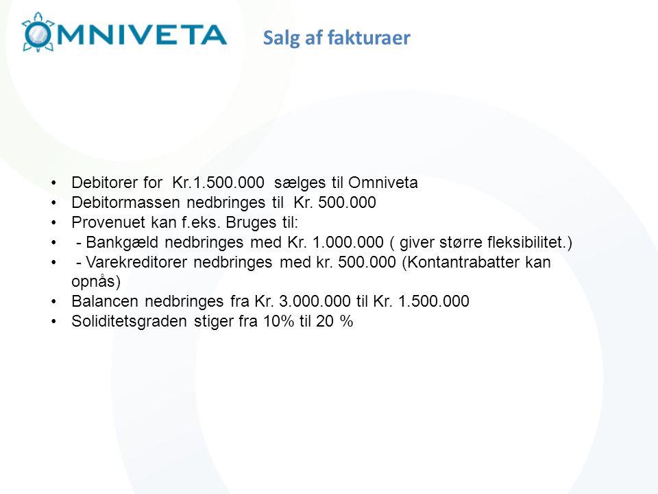 Salg af fakturaer Debitorer for Kr.1.500.000 sælges til Omniveta