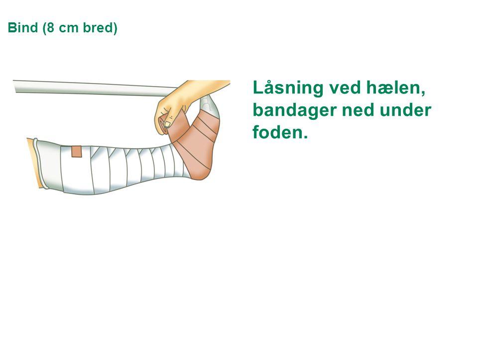 Låsning ved hælen, bandager ned under foden.