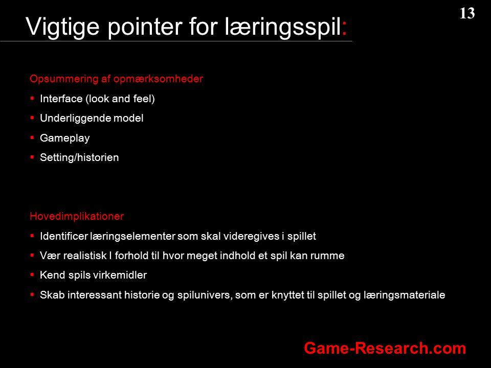 Vigtige pointer for læringsspil:
