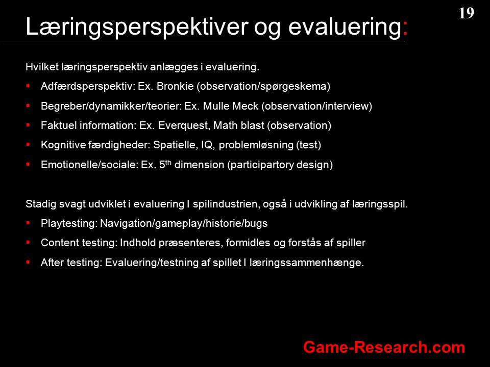 Læringsperspektiver og evaluering: