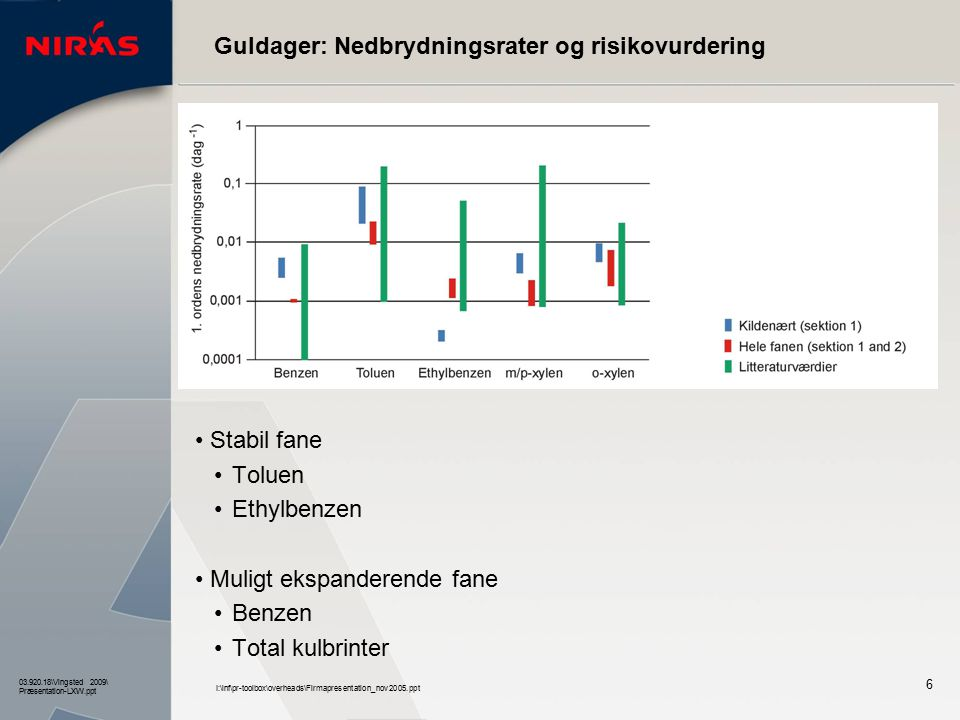Guldager: Nedbrydningsrater og risikovurdering